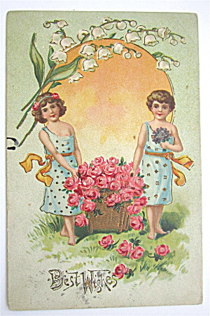 Two Girls Carrying A Big Basket Of Flowers Postcard (Image1)