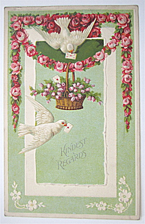 Doves Carrying Letters In Their Mouths Postcard (Image1)