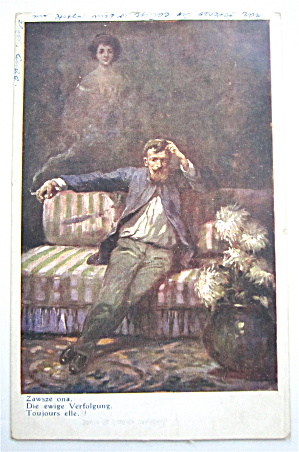 Man Sitting On The Couch Postcard