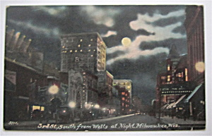 3rd St. South from Wells At Night, Milwaukee Postcard (Image1)