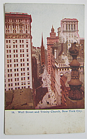 Wall Street And Trinity Church, New York City Postcard (Image1)