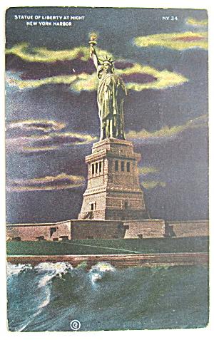 Statue Of Liberty At Night, New York Harbor Postcard (Image1)