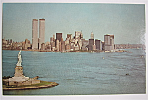 Statue Of Liberty & Lower Manhattan, New York Postcard (Image1)