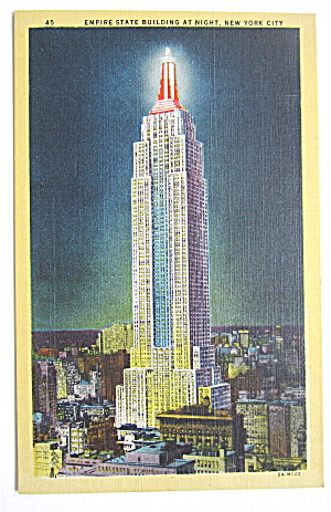 Empire State Building At Night, New York Postcard (Image1)