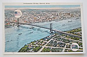 Ambassador Bridge, Detroit, Michigan Postcard (Image1)