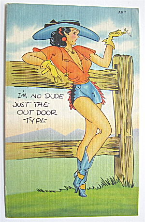 Woman Leaning Against Fence Postcard (Image1)