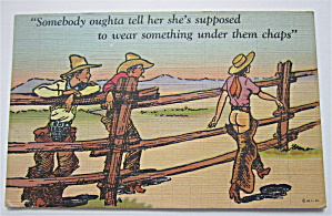 Two Men Looking At Woman's Butt Postcard (Image1)