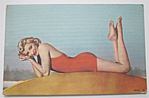 Woman Laying And Posing Postcard