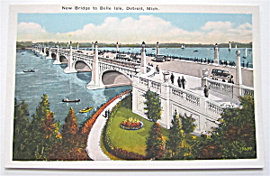 New Bridge To Belle Isle Detroit, Michigan Postcard (Image1)