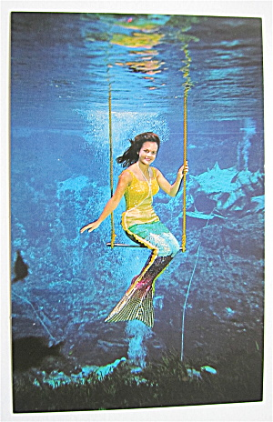 Weeki Wachee Mermaid Flying On Trapeze Postcard