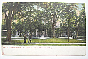 Yale University Postcard (Old Library & Statue) (Image1)