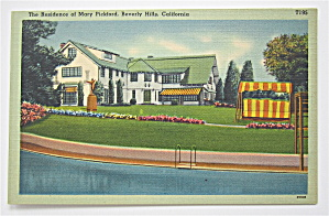Residence Of Mary Pickford Postcard (California) (Image1)