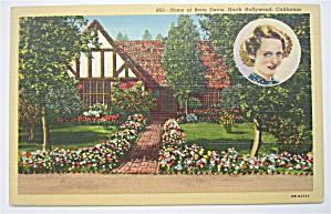 Home Of Bette Davis Postcard (California) (Image1)