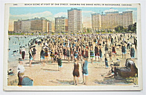 Beach Scene At Foot Of Oak Street Postcard (Chicago) (Image1)