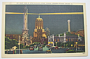 Night View Of Upper Michigan Ave Postcard (Image1)