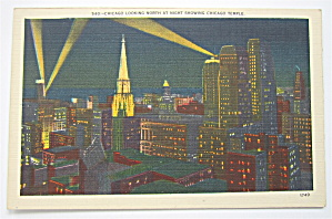Chicago Looking North At Night Showing Temple Postcard (Image1)