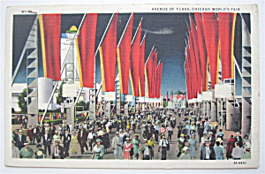 Avenue Of Flag Postcard, Chicago World's Fair