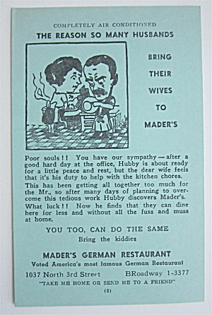 Reasons Husbands Bring Wives To Mader's Postcard