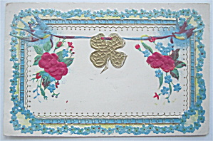 Four Leaf Clover Being Held By Two Birds Postcard (Image1)