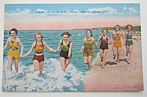 Fun On The Beach, St Joseph, Benton Harbor, MI Postcard (Image1)