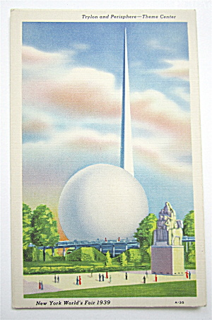 Trylon & Perisphere Theme Center New York Fair Postcard