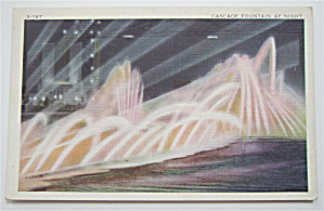 Cascade Fountain At Night, Chicago's 1934 Expo Postcard (Image1)