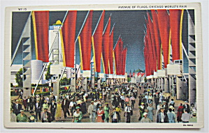 Avenue Of Flags, Chicago World's Fair Postcard (Image1)