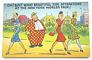 Heavy Set Man Checking Out Women Postcard