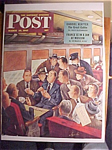 Saturday Evening Post Cover By Alajalov-march 15, 1947