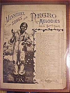 Sheet Music Cover Of Minstrel Songs And Negro Melodies