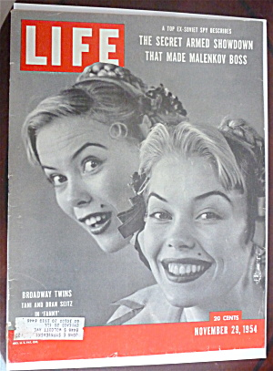 Life Magazine-november 29, 1954-broadway Twins