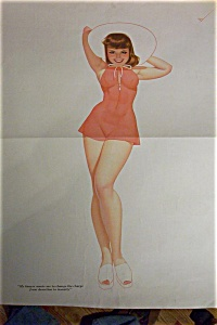 Lithograph Pin Up By Petty-1940's-brown Eyed Bombshell