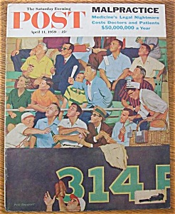 Saturday Evening Post Cover-april 11, 1959-dick Sargent