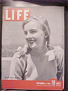 Life Magazine-september 8,1941-college Girl's Pigtails