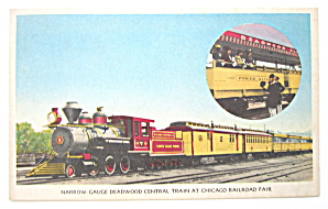 Deadwood Central Train, Chicago Railroad Fair Postcard