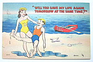 Woman Life Guard Saving Man Postcard