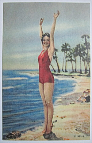 Woman Posing On Beach With Arms In The Air Postcard  (Image1)