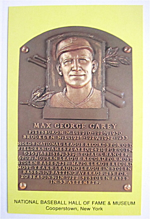 Max George Carey Plaque, Cooperstown, New York Postcard