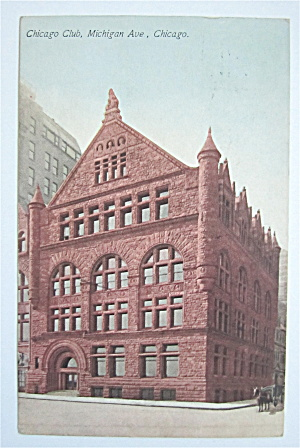 Chicago Club, Michigan Avenue, Chicago Postcard  (Image1)