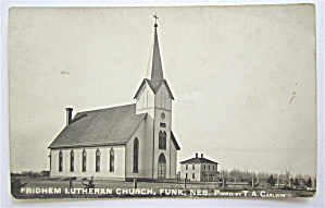 Fridhem Lutheran Church, Funk, Nebraska Postcard  (Image1)