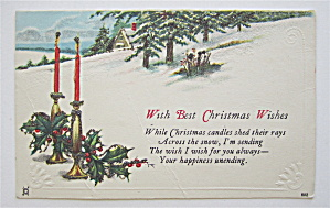 Two Lit Candles In The Snow Christmas Postcard (Image1)