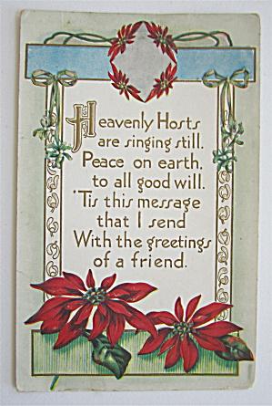 Christmas Postcard With Poinsettias Postcard  (Image1)