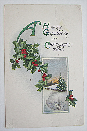 A Hearty Greeting At Christmas Tide Postcard  (Image1)