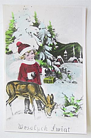 Little Girl Watching A Deer Postcard  (Image1)