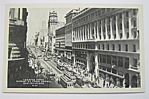 Looking Down Market Street From Powell Postcard  (Image1)