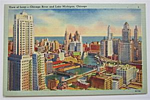 View Of Loop Chicago River And Lake Michigan Postcard  (Image1)
