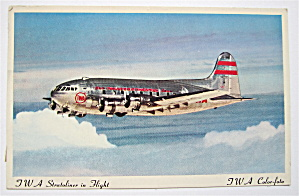 TWA Stratoliner In Flight Postcard (TWA Color Foto) (Image1)
