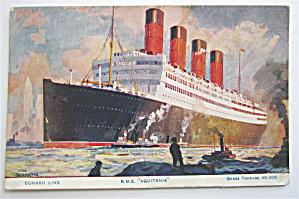 Aquitania Ship Postcard (Cunard Line) (Image1)