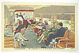 Coffee Shoppe-Columbian B & O Streamliner Postcard  (Image1)