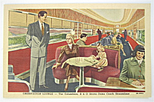 Observation Lounge-Columbian B & O Streamliner Postcard (Image1)